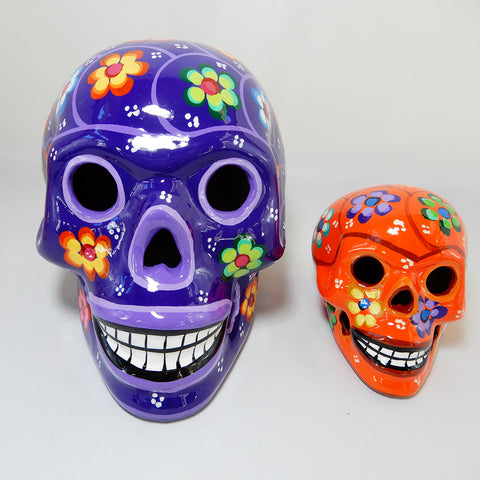 Large Handcrafted Ceramic Sugar Skull Purple