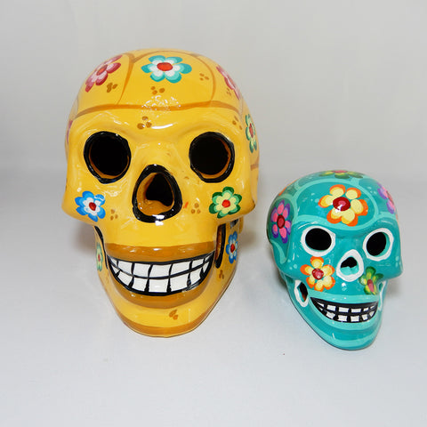 "Large Handcrafted Ceramic Sugar Skull Yellow, Handcrafted and painted by a Mexican local shop in Toluca Mexico ""Taller Paulina"" small size around 8'' x 6'' x 6''.  Depicting Dia de los Muertos celebration or Day if the Death tradition."