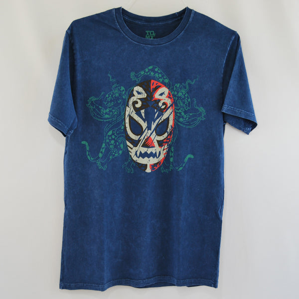 Blue T-Shirt men Luchador Mexican Wrestler 100% Cotton