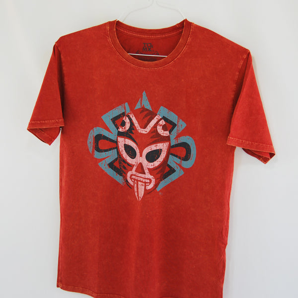 T-Shirt Luchador Red for Men, The Luchador image represents the a masked God of the Sun, the protector of Mexican values. Union of faith and mysticism. Designed by TQMEXICO