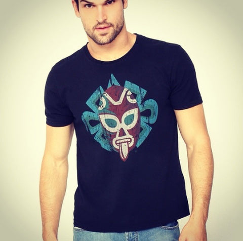 T-Shirt Jaguar Luchador Black U Neck for Men