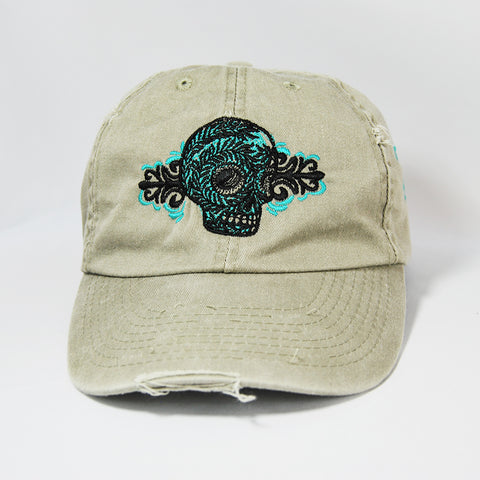 Skull Design Cap, Skull Design Hat, embroidered in turquoise and black thread. Washed brown color.