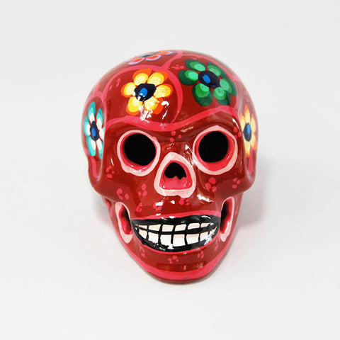 Handcrafted Ceramic Mexican Sugar Skull Red