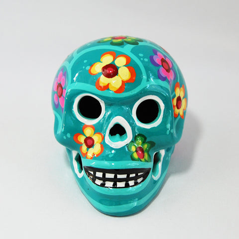 Handcrafted Ceramic Mexican Sugar Skull Turquoise
