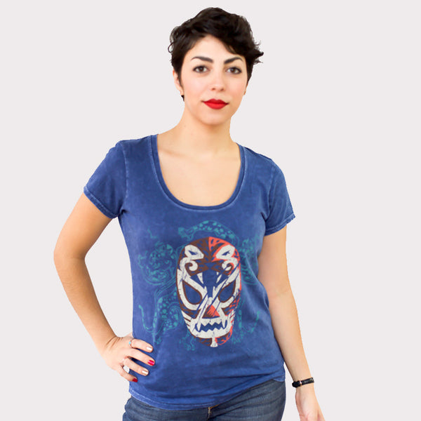 T-Shirt Luchador Blue for Women, Mexican wrestler, traditions. 100% cotton designed by tqmexico in Puebla Mexico