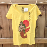Yellow T-shirt for women, mermaid mexican lottery design on sale 100% cotton imported from Mexico