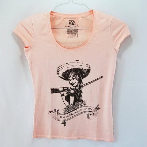 T-Shirt Women's Adelita Pink 100% cotton tribute to women, empower women to keep fighting for human rights