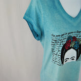 T-shirt for women with Frida Kahlo design in blue