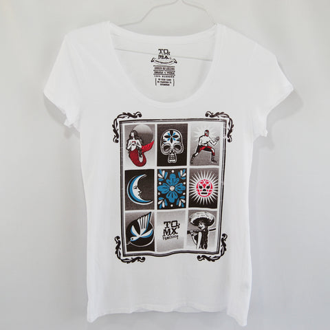 T-Shirt Luchador Loteria White  U Neck for Women. This is an un-common loteria t-shirt. Within nine images it represents cultural traditions from mexico such as luchador, a mermaid, the moon, the skull among others.