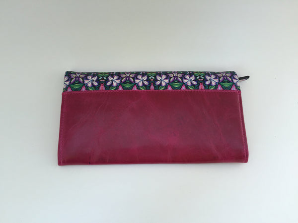 Wallet Leather Mexican Flowers, Print: Purple, Pink, Green, White  7.5'' x 4''  Exterior and Interior: Genuine Leather
