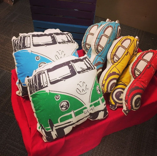 Decorative Pillow VW Beetle Blue