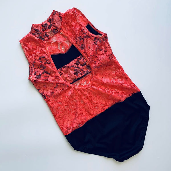 Coral Pink & Black Lace Leotard - Dazzle Dancewear Ltd