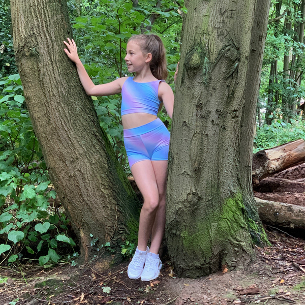 Pastel Rainbow Crop & Shorts Two Piece Set - Dazzle Dancewear Ltd