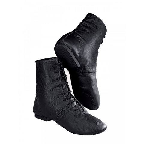 Black Leather Split Sole Jazz Dance Boots