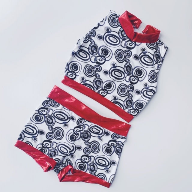 Black, White & Red Swirl Detail Two Piece | Dazzle Dancewear Ltd