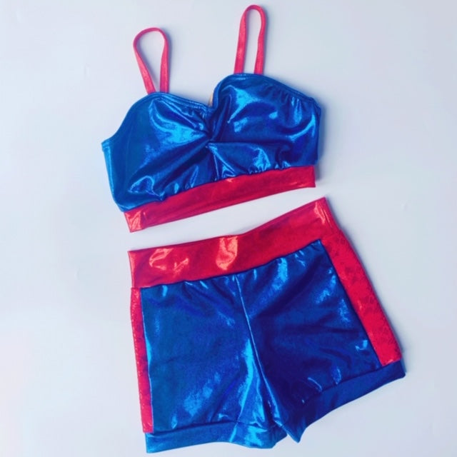 Red & Lace Shine Two Piece | Dazzle Dancewear Ltd