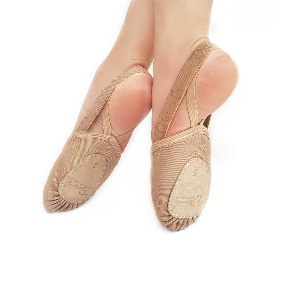 - Dazzle Dancewear Nude Canvas Half Turn Lyrical Dance Shoes
