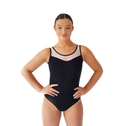 #4 Dazzle Dancewear White Mesh Back Leotard