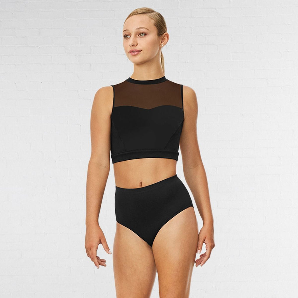 Bloch Emiko Black High Neck Open Back Crop Top | Dazzle Dancewear Ltd