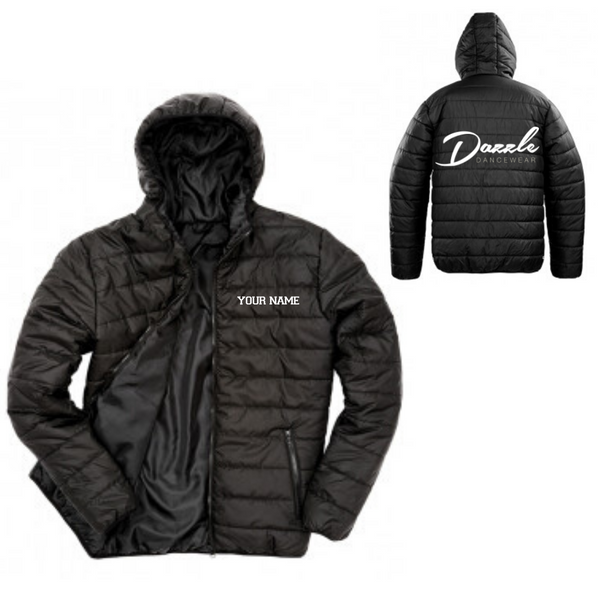 Personalised 'Dazzle Dancewear' Puffer Coat- Adult - Dazzle Dancewear Ltd