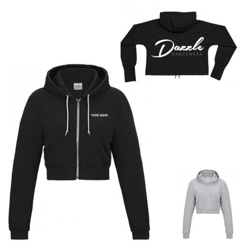 Personalised 'Dazzle Dancewear' Cropped Zip Hoody- Adult - Dazzle Dancewear Ltd