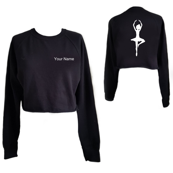 Personalised 'Ballerina' Cropped Sweatshirt- Adult - Dazzle Dancewear Ltd