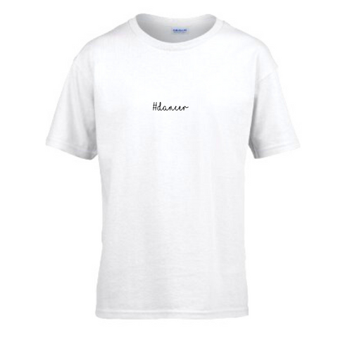 '#Dancer' White Slogan T-shirt - Child - Dazzle Dancewear Ltd