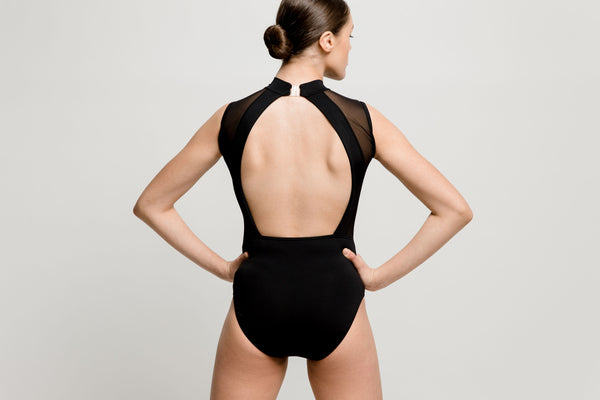 Black Mesh Sweetheart Open Back Leotard - Dazzle Dancewear Ltd