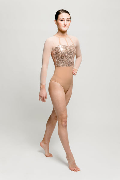 Rose Gold Sequin and Mesh Leotard - Dazzle Dancewear Ltd