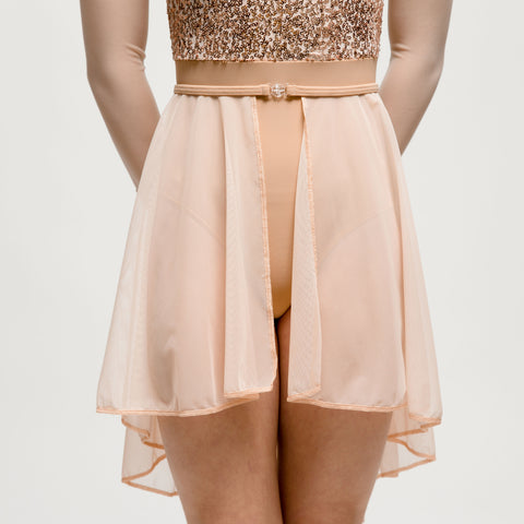 Rose Gold Sheer Mesh Lyrical Skirt - Dazzle Dancewear Ltd