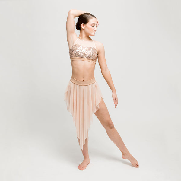 Rose Gold Sequin and Mesh Two Piece - Dazzle Dancewear Ltd