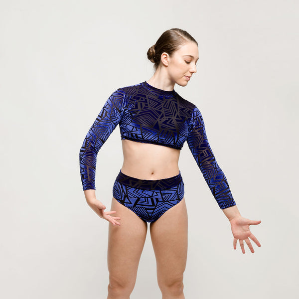 Blue Velour Aztec Two Piece | Dazzle Dancewear Ltd