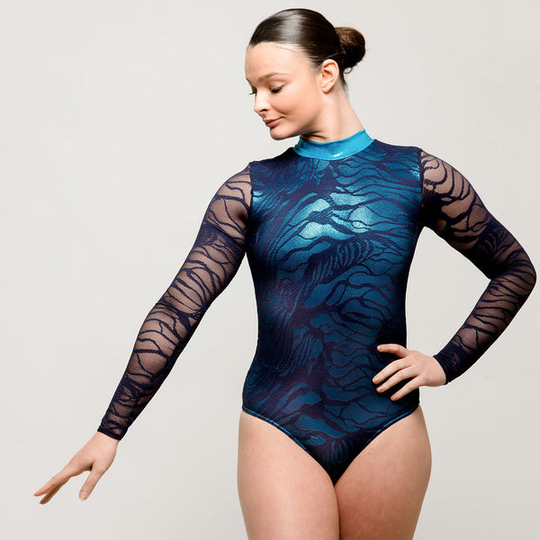 Metallic Blue Lace Long Sleeved Leotard | Dazzle Dancewear