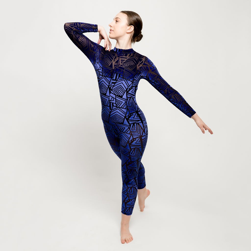 Blue Velour Aztec Catsuit Overlay | Dazzle Dancewear Ltd
