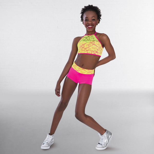 1st Position Contrasting Neon Lace Crop Top and Hot Pants-Dazzle Dancewear Ltd