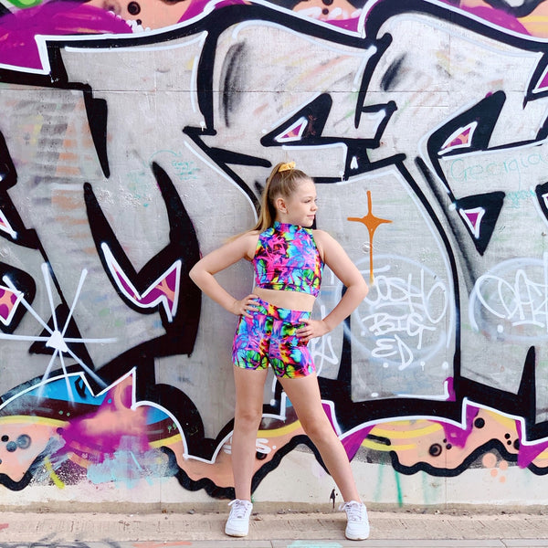 Multi Tie Dye Crop & Shorts Two Piece Set - Dazzle Dancewear Ltd