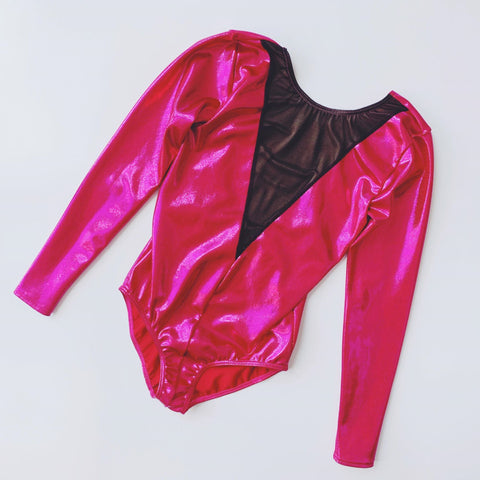 Pink Shine & Mesh Long Sleeved Leotard | Dazzle Dancewear Ltd