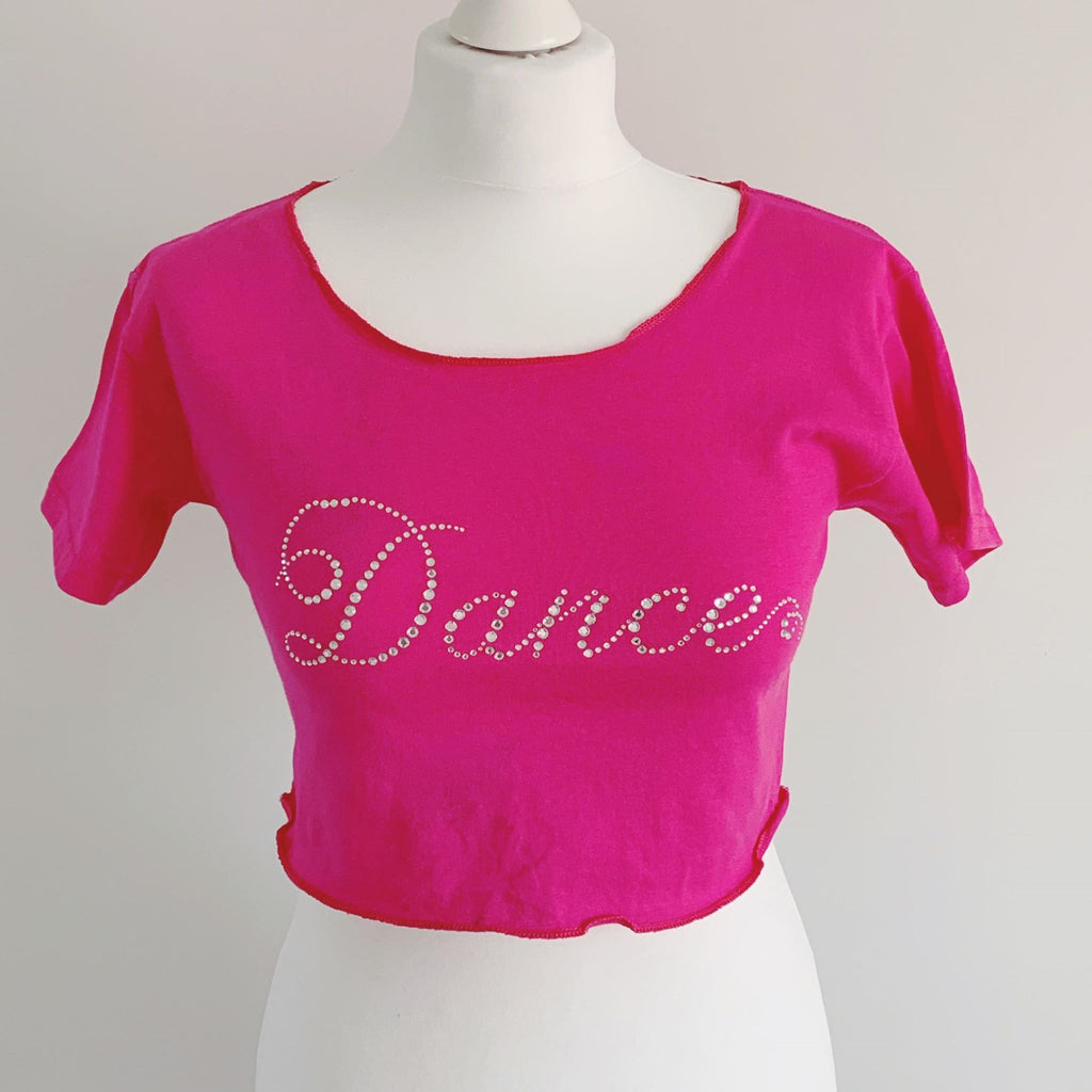 Pink Off Shoulder Diamante Dance Top | Dazzle Dancewear Ltd
