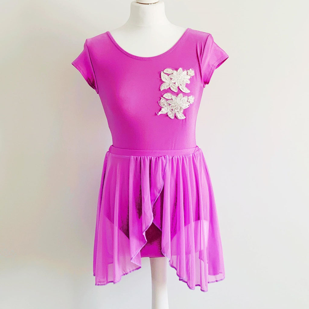 Lilac Two Piece Leotard & Skirt Set With Floral Detail | Dazzle Dancewear Ltd