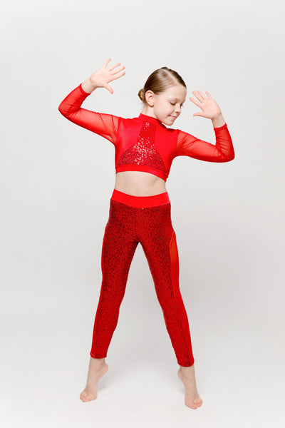 Razzle Dazzle Red Sequin Two Piece Costume - Dazzle Dancewear Ltd