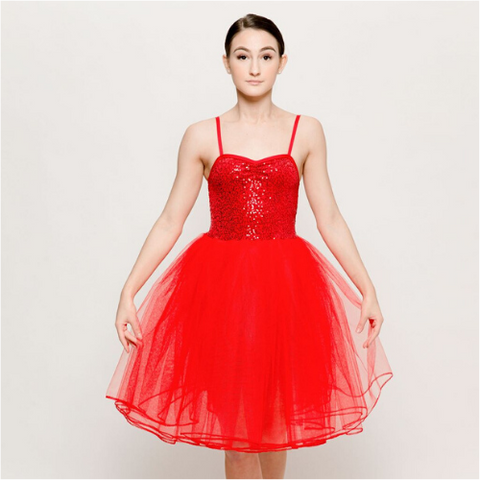 Razzle Dazzle Red Sequin Romantic Tutu Ballet Dress - Dazzle Dancewear Ltd