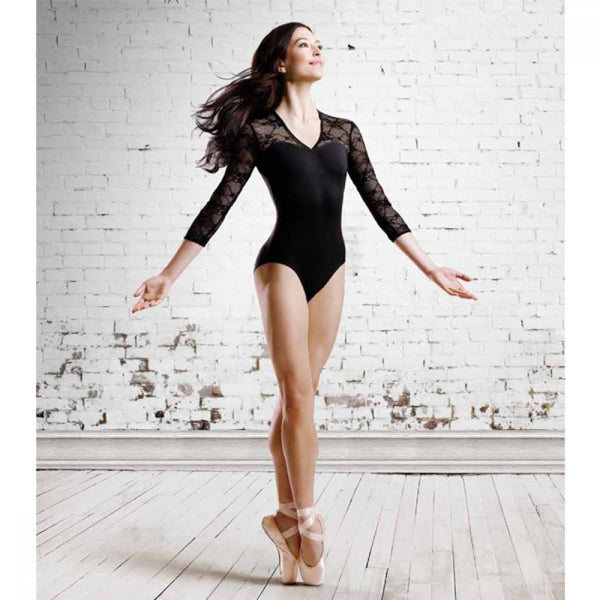 Bloch L6016 Kate ¾ Sleeve V Neck Lace Leotard - Dazzle Dancewear Ltd