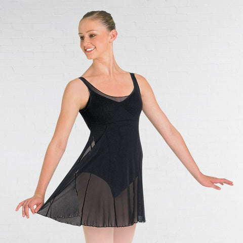 Bloch Z2917 Emerge Ladies Panelled Black Mesh Dress - Dazzle Dancewear Ltd