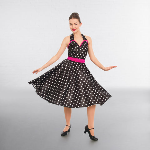 1st Position Polka Dot Rock n Roll Halterneck Dress- Dazzle Dancewear Ltd
