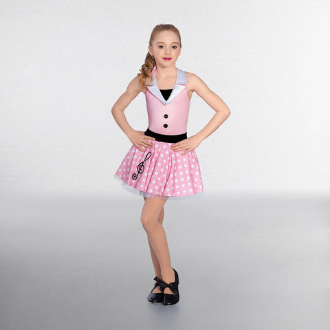 1st Position Pink/White Halterneck Dotty Music Dress - Dazzle Dancewear Ltd
