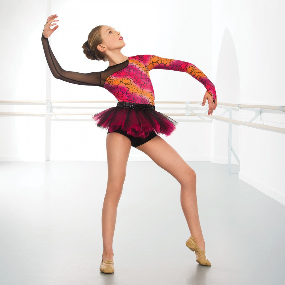 248c650c2cdf 1st Position Black & Pink Long Sleeved Mesh Print Tutu – Dazzle Dancewear  Ltd