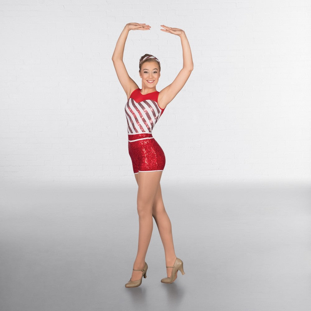 1st Position Red Sequin Candy Stripe Playsuit - Dazzle Dancewear Ltd