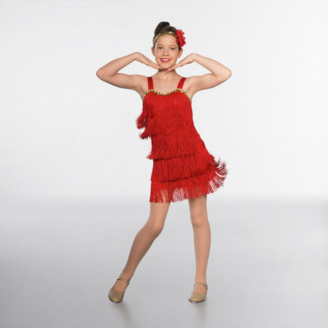 Red Sequin Trimmed Flapper Dress - Dazzle Dancewear Ltd