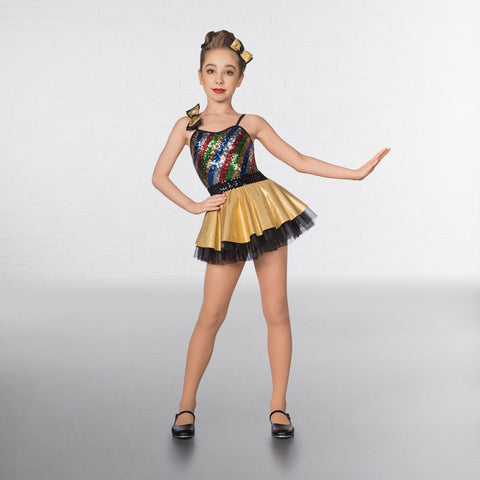 1st Position Multi Stripe Bow Glitz Dress - Dazzle Dancewear Ltd