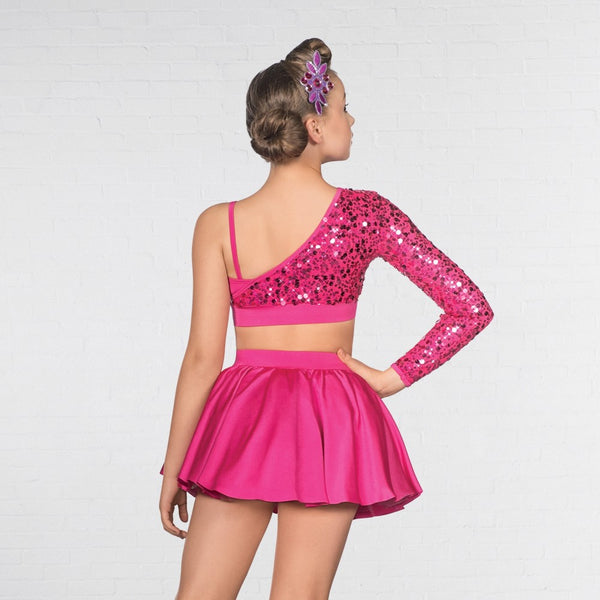 1st Position Asymmetrical Sequin Sleeved Two Piece Glitz